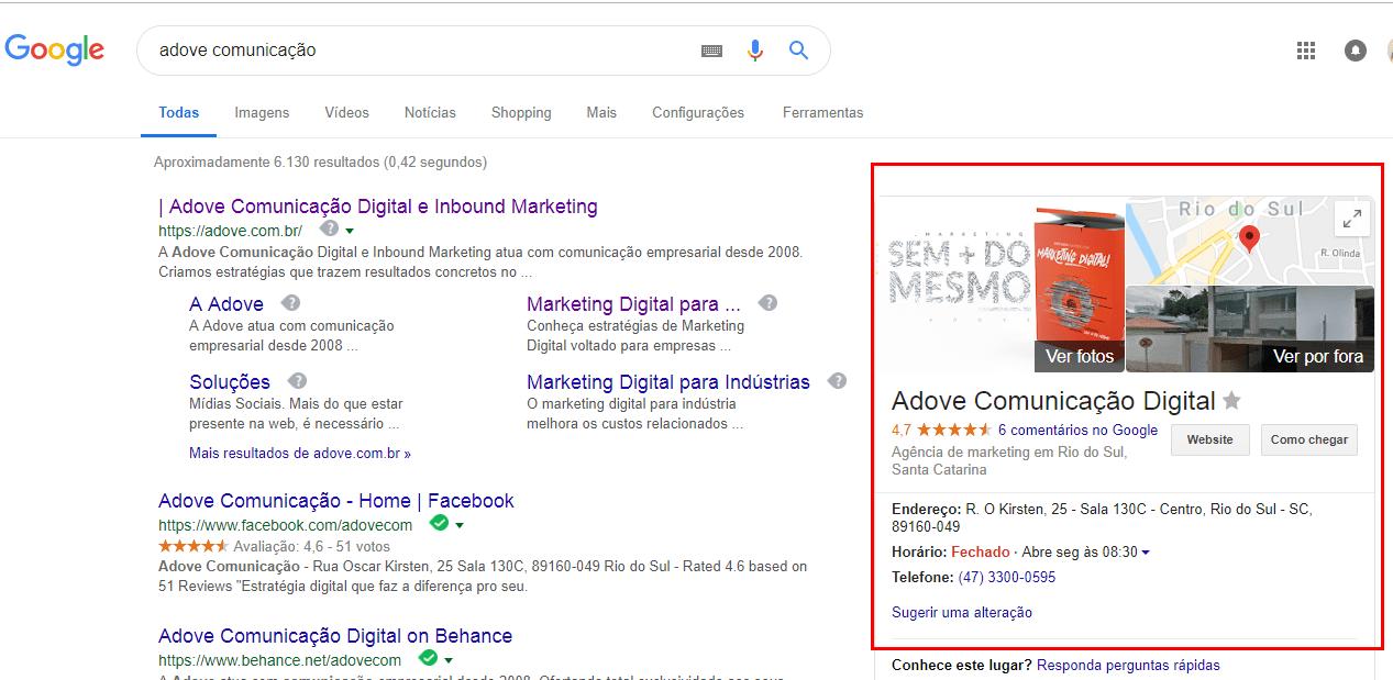 Pesquisa por voz: pesquisa Google Meu Negócio